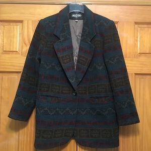 Braetan Vintage Wool Blazer - Aztec Print